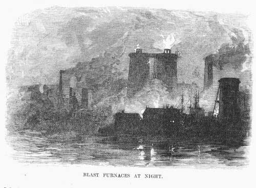 blast furnaces at night