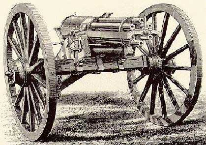 woodcut of Gatling Gun