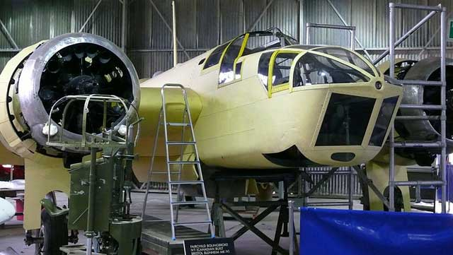 picture of Blenheim bomber being restored