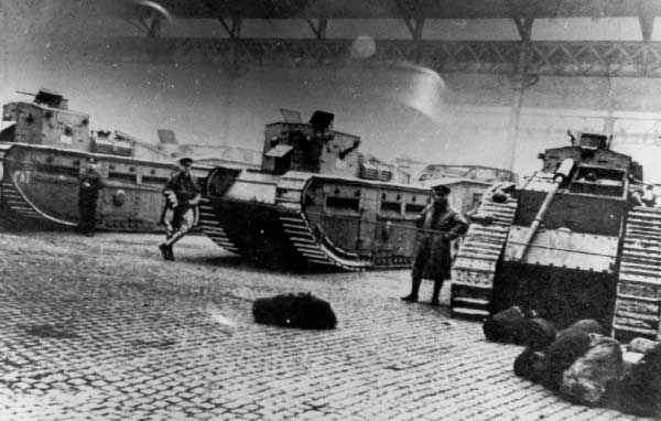 British Soldiers and tanks in Clydeside