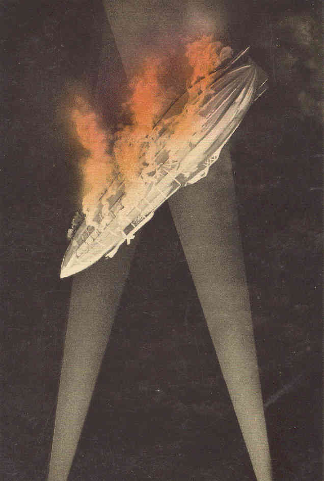 zeppelin caught in the searchlights