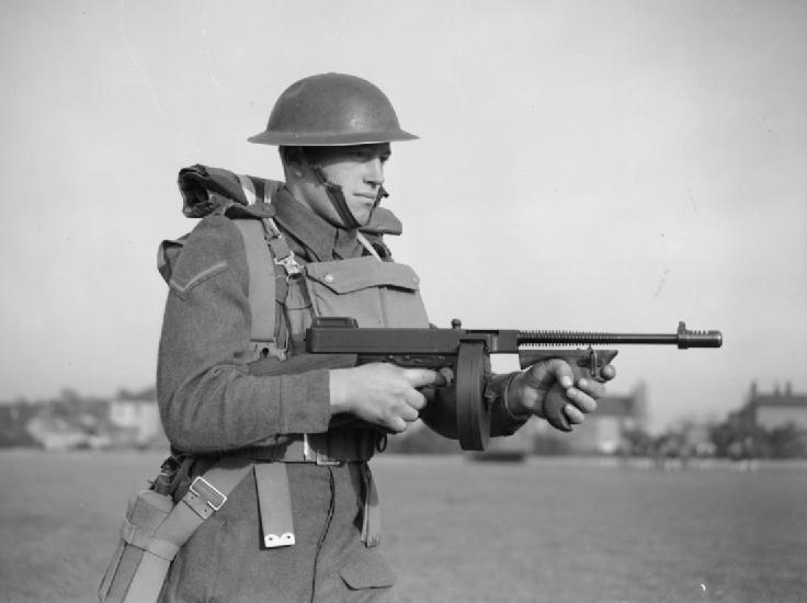 Picture of British Soldier and Tommy Gun